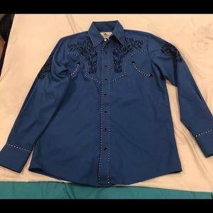 Western Cowboy Men's Ranger Blue Long Sleeve SZ M
